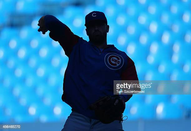 Mike Olt of the Chicago Cubs warms up during batting practice before the start of MLB game action against the Toronto Blue Jays on September 8 2014...