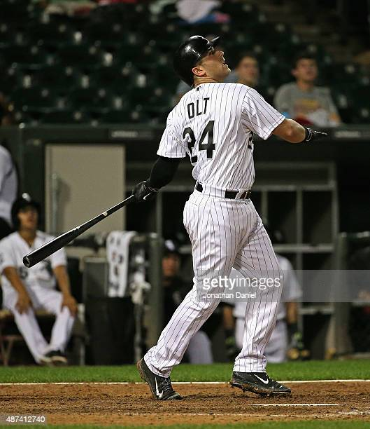 Mike Olt of the Chicago White Sox bats against the Cleveland Indians at US Cellular Field on September 8 2015 in Chicago Illinois The White Sox...