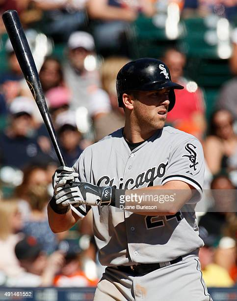 Mike Olt of the Chicago White Sox bats against the Detroit Tigers at Comerica Park on September 23 2015 in Detroit Michigan