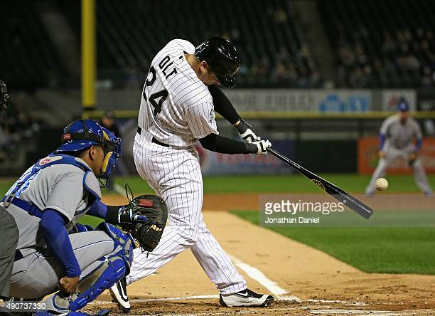 Mike Olt of the Chicago White Sox hits a single in the 2nd inning against the Kansas City Royals at US Cellular Field on September 30 2015 in Chicago...
