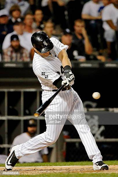 Mike Olt of the Chicago White Sox hits a two run home run against the Oakland Athletics during the fourth inning at US Cellular Field on September 16...