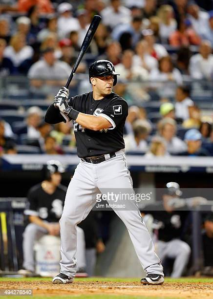 Mike Olt of the Chicago White Sox in action against the New York Yankees at Yankee Stadium on September 25 2015 in the Bronx borough of New York City...