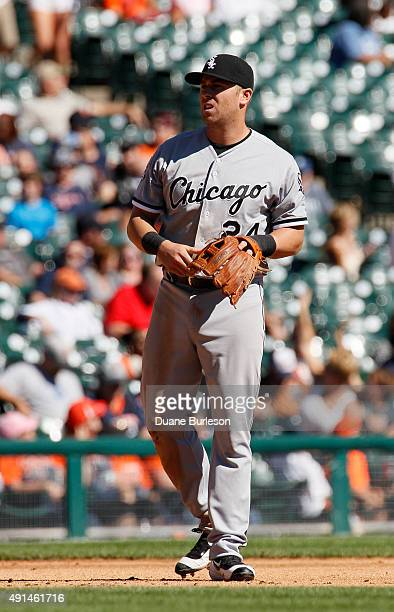 Mike Olt of the Chicago White Sox plays third base against the Detroit Tigers at Comerica Park on September 23 2015 in Detroit Michigan