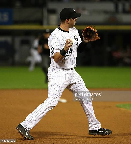 Mike Olt of the Chicago White Sox throws out Ray Raburn of the Cleveland Indians in the 6th inning at US Cellular Field on September 8 2015 in...