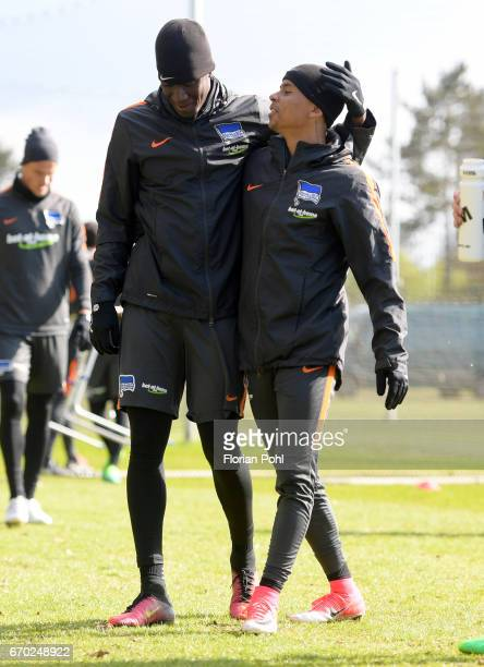 Mike Owusu and Allan of Hertha BSC during the training on april 19 2017 in Berlin Germany