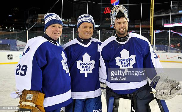 Mike Palmateer Tie Domi and Curtis Joseph of the Toronto Maple Leafs Alumni pose for a photo prior to the game against the Detroit Red Wings Alumni...