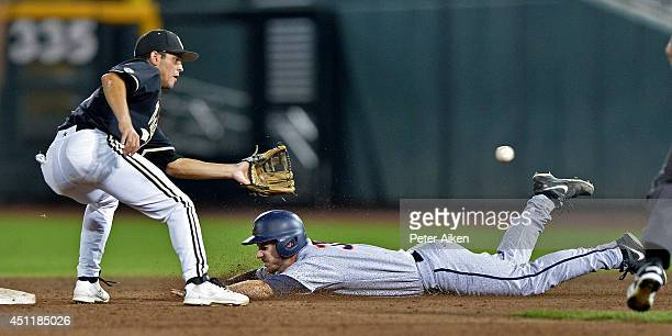 Mike Papi of the Virginia Cavaliers dives into second base ahead of the throw to shortstop Vince Conde of the Vanderbilt Commodores on a wild pitch...