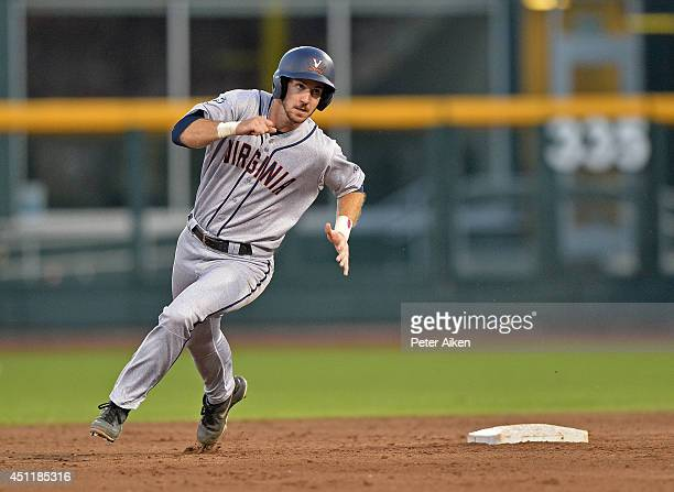 Mike Papi of the Virginia Cavaliers runs to third base against the Vanderbilt Commodores in the sixth inning during game two of the College World...