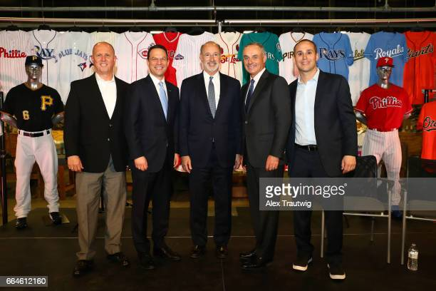Mike Pardini CEO of Majestic Attorney General Josh Shapiro of Pennsylvania Governor Tom Wolf of Pennsylvania Commissioner of Baseball Robert D...