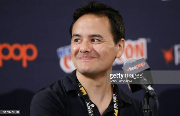 Mike Parker speaks during the Explosion Jones panel during the 2017 New York Comic Con Day 1 on October 5 2017 in New York City