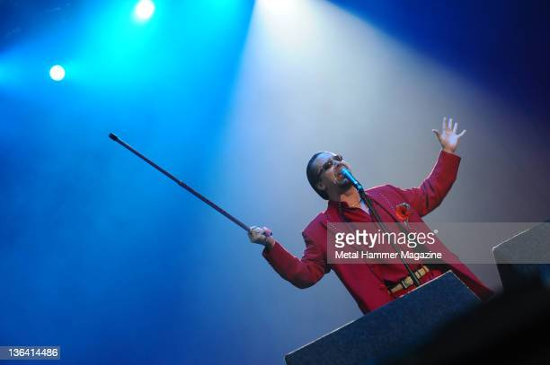 Mike Patton of American hard rock group Faith No More performing live on stage at Download Festival on June 12, 2009 at Donington Park.