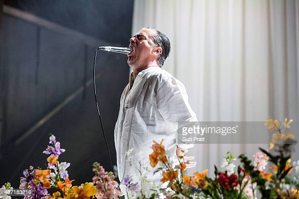 Mike Patton of Faith No More performs at Bumbershoot at Seattle Center on September 6 2015 in Seattle Washington