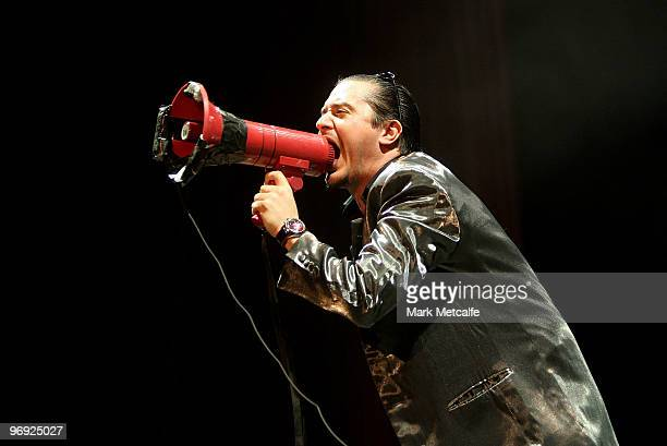 Mike Patton of Faith No More performs on stage at Soundwave Festival at Eastern Creek Raceway on February 21 2010 in Sydney Australia