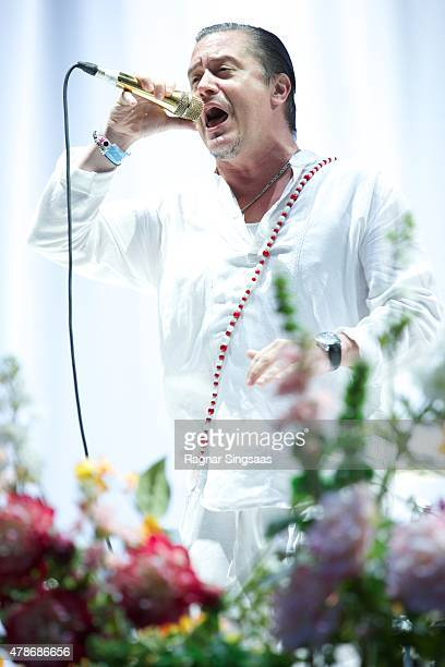 Mike Patton of Faith No More performs onstage during the second day of the Bravalla Festival on June 26, 2015 in Norrkoping, Sweden.