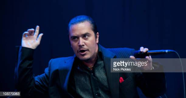 Mike Patton of Mike Patton's Mondo Cane and the Heritage Orchestra performs on Day 2 of The Big Chill Festival at Eastnor Castle Deer Park on August...