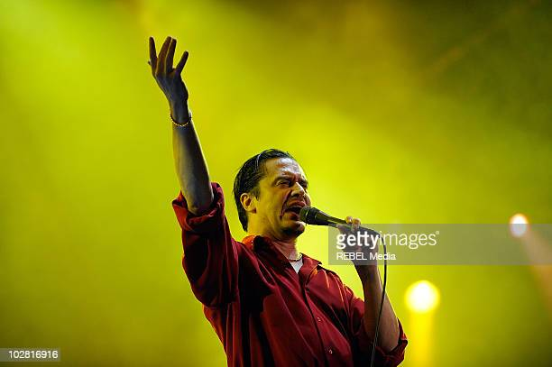 Mike Patton of the American rock band Faith No More performs at Day 4 of the Exit Festival on July 11 2010 in Novi Sad Serbia