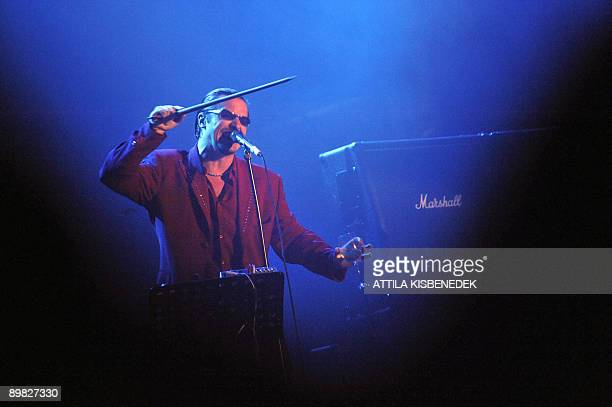 """Mike Patton of US alternative metal band """"Faith No More"""" performs on the main stage of the Hajogyar Island in Budapest on August 16, 2009 during the..."""