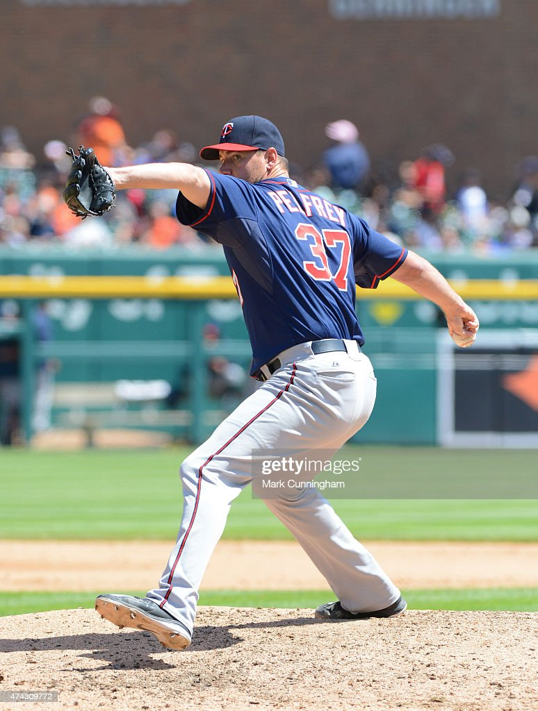 Mike Pelfrey #37 of the Minnesota Twins pitches during the game against the Detroit Tigers at Comerica Park on May 14, 2015 in Detroit, Michigan. The Tigers defeated the Twins 13-1.