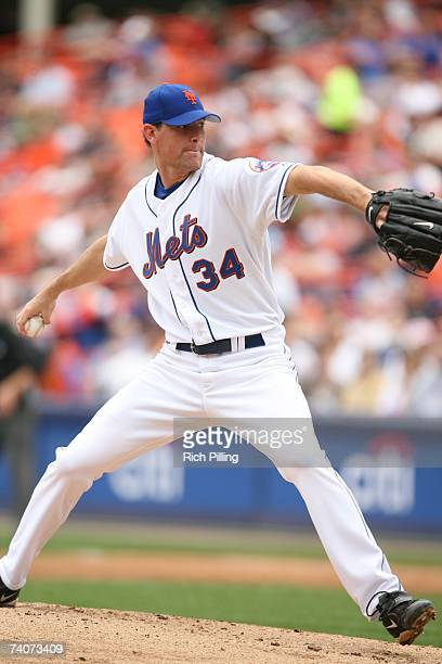 Mike Pelfrey of the New York Mets pitches during the game against the Colorado Rockies at Shea Stadium in Flushing New York on April 25 2007 The...