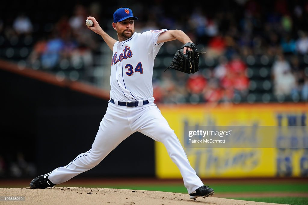 Mike Pelfrey #34 of the New York Mets throws a pitch against the Philadelphia Phillies in the first inning during a game at Citi Field on September 25, 2011 in the Flushing neighborhood of the Queens borough of New York City.