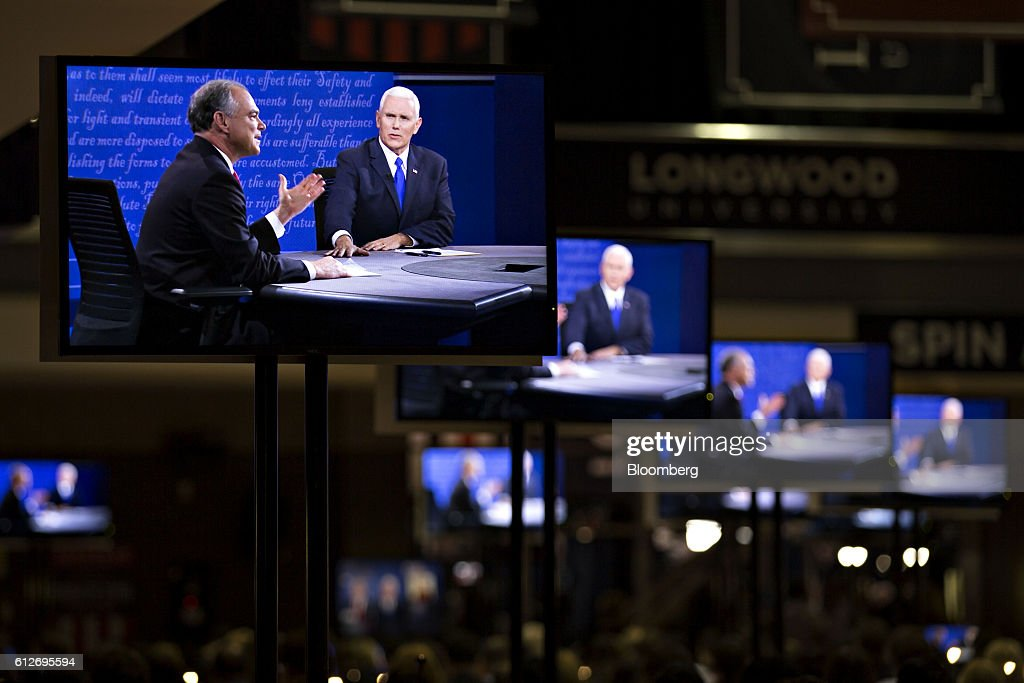 Candidates Tim Kaine And Mike Pence Hold The Vice Presidential Debate : News Photo