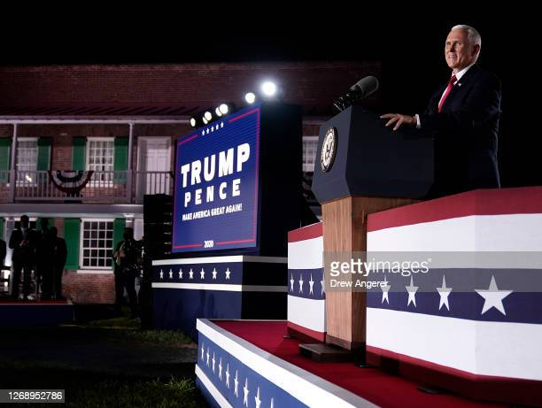 Mike Pence accepts the vice presidential nomination during the Republican National Convention from Fort McHenry National Monument on August 26, 2020...