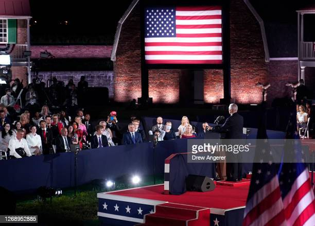 Mike Pence accepts the vice presidential nomination during the Republican National Convention from Fort McHenry National Monument on August 26 2020...