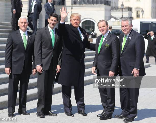Mike Pence Paul Ryan US President Donald Trump Irish Taoiseach Enda Kenny and Peter T King after a quotFriends of Irelandquot lunch at the Capitol...