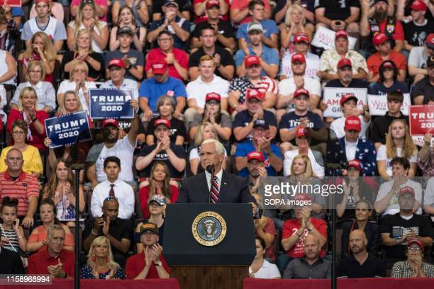 Mike Pence speaks during the rally President Trump and Vice President Mike Pence held a rally at the US Bank Arena in Cincinnati Ohio