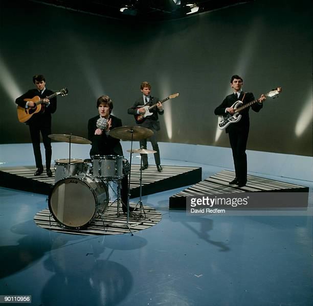 Mike Pender Chris Curtis John McNally and Frank Allen of The Searchers perform on Thank Your Lucky Stars tv show in 1965
