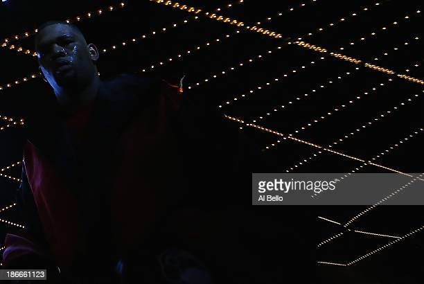 Mike Perez enters the ring against Magomed Abdusalamov before their Heavyweight fight at The Theater at Madison Square Garden on November 2, 2013 in...