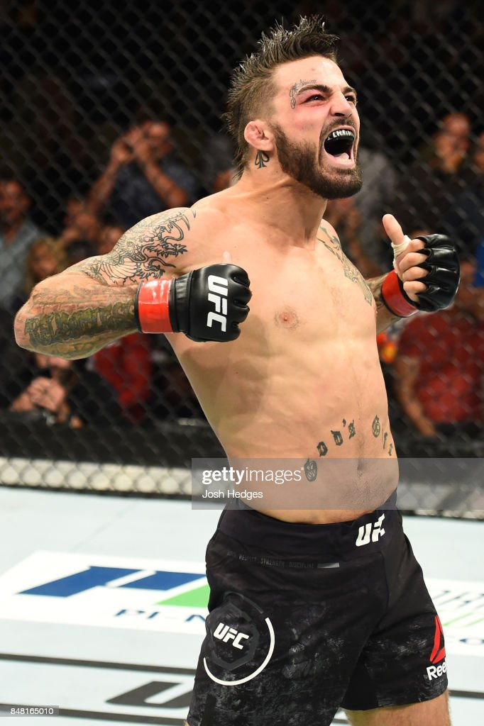 Mike Perry celebrates after defeating Alex Reyes in their welterweight bout during the UFC Fight Night event inside the PPG Paints Arena on September 16, 2017 in Pittsburgh, Pennsylvania.