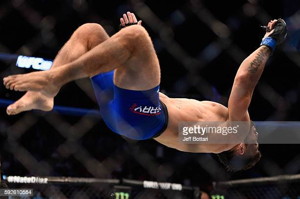 Mike Perry celebrates after defeating Hyun Gyu Lim of South Korea in their welterweight bout during the UFC 202 event at T-Mobile Arena on August 20,...