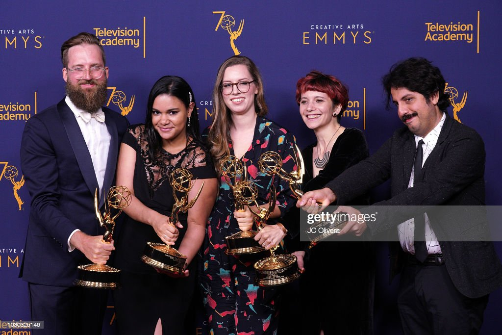 Mike Perry, Erica Perez, Barbara Benas, Maya Edelman, Isam Prado, winners of the award for outstanding motion design for 'Broad City - Mushrooms', pose in the press room during the 2018 Creative Arts Emmy Awards at Microsoft Theater on September 9, 2018 in Los Angeles, California.