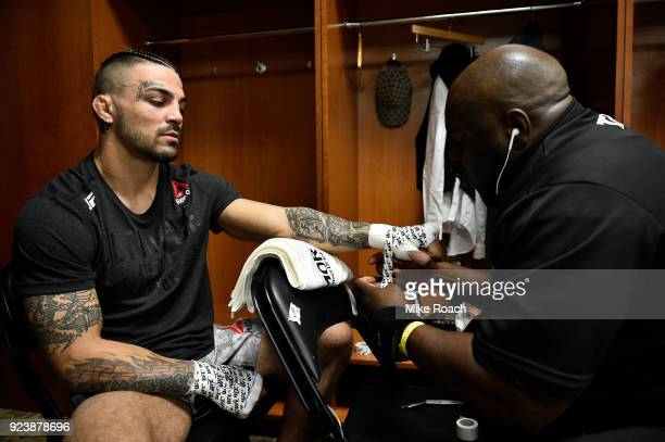 Mike Perry has his hands wrapped backstage prior to his bout against Max Griffin during the UFC Fight Night event at Amway Center on February 24 2018...