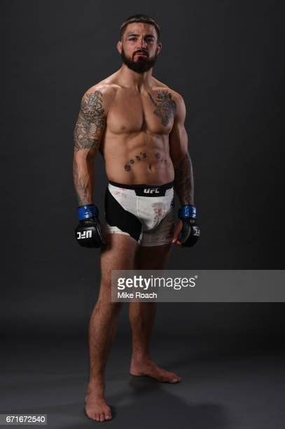 Mike Perry poses for a portrait backstage after his victory over Jake Ellenberger during the UFC Fight Night event at Bridgestone Arena on April 22...
