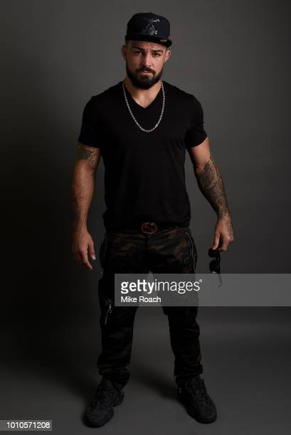 Mike Perry poses for a portrait backstage prior to the UFC press conference inside the Orpheum Theater on August 3 2018 in Los Angeles California