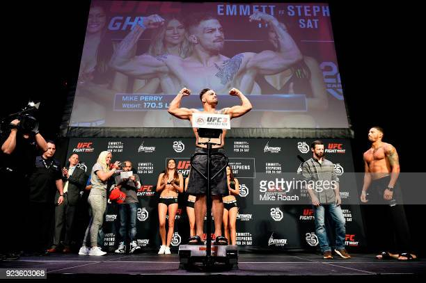 Mike Perry poses on the scale during the UFC Fight Night Weighins at Amway Center on February 23 2018 in Orlando Florida