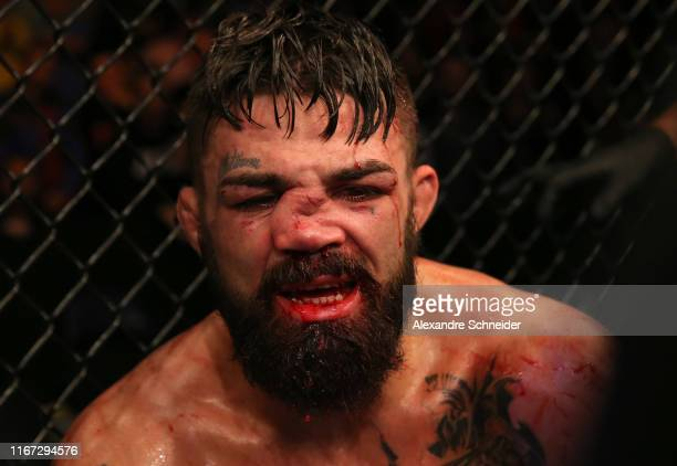Mike Perry reacts after the conclusion of his welterweight fight against Vicente Luque during the UFC Fight Night event at Antel Arena on August 10,...