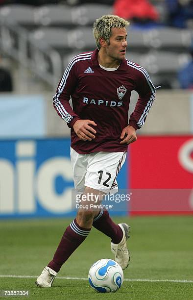 Mike Petke of Colorado Rapids looks to make a play with the ball during MLS match action against DC United in the Inaugural Game at Dick's Sporting...