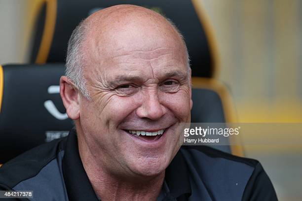 Mike Phelan assistant manager of Hull City smiles before the Sky Bet Championship match between Wolverhampton Wanderers and Hull City at Molineux on...