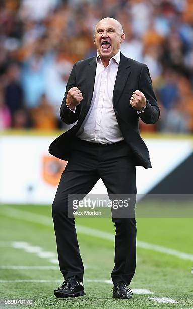 Mike Phelan caretaker Manager of Hull City celebbrates his teams win during the Premier League match between Hull City and Leicester City at KCOM...