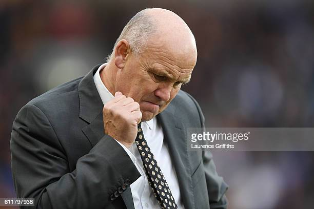 Mike Phelan caretaker Manager of Hull City reacts during the Premier League match between Hull City and Chelsea at KCOM Stadium on October 1 2016 in...