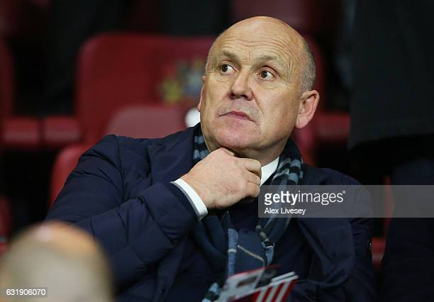 Mike Phelan looks on from the stands during the Emirates FA Cup third round replay between Burnley and Sunderland at Turf Moor on January 17 2017 in...
