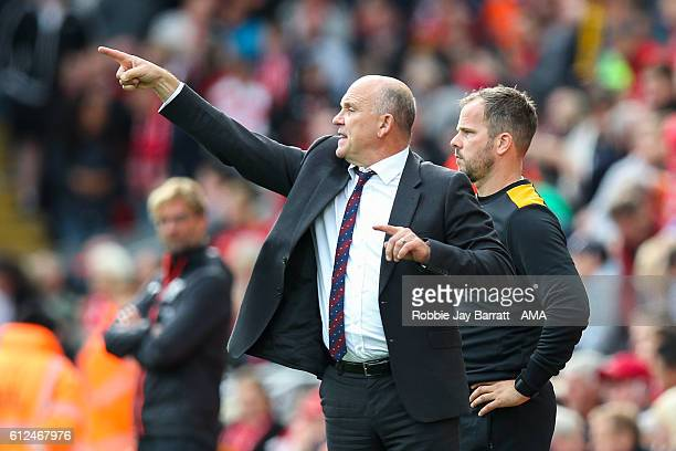 Mike Phelan manager / head coach of Hull City during the Premier League match between Liverpool and Hull City at Anfield on September 24 2016 in...