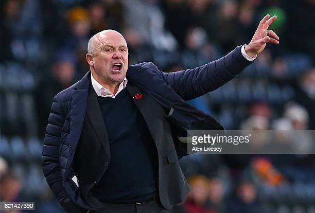 Mike Phelan Manager of Hull City looks on during the Premier League match between Hull City and Southampton at KC Stadium on November 6 2016 in Hull...