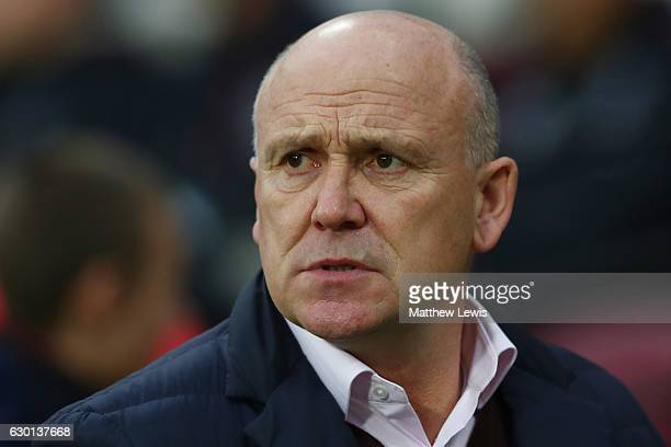 Mike Phelan Manager of Hull City looks on during the Premier League match between West Ham United and Hull City at London Stadium on December 17 2016...