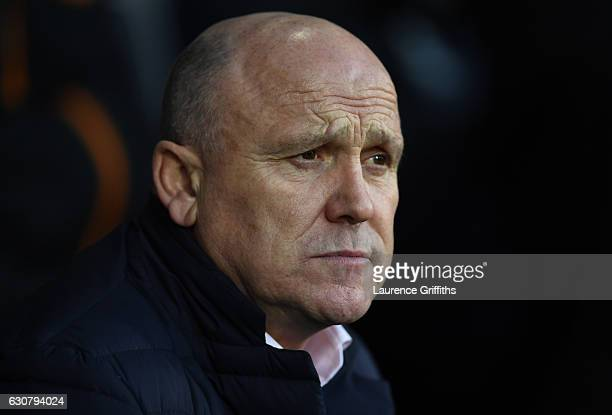 Mike Phelan Manager of Hull City looks on during the Premier League match between West Bromwich Albion and Hull City at The Hawthorns on January 2...