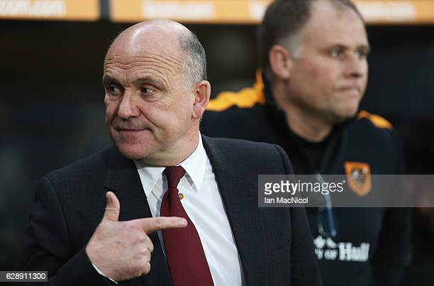 Mike Phelan manager of Hull City points prior to the Premier League match between Hull City and Crystal Palace at KCOM Stadium on December 10 2016 in...
