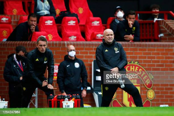Mike Phelan, Manchester United Assistant Manager looks on during the Premier League match between Manchester United and AFC Bournemouth at Old...